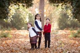 autumn family photographs with three children